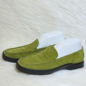 TODS | Green Suede Loafers